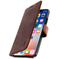 AKASHI ETUI IPHONE X / XS HOUSSE COQUE CUIR AKASHI MARRON - FONCTION SUPPORT