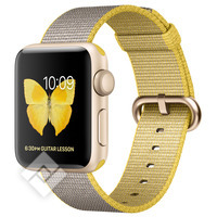 APPLE WATCH SERIES 2 2016 38MM GOLD ALUMINIUM CASE YELLOW LIGHT GREY WOVEN NYLON BAND