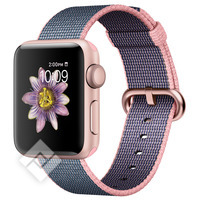 APPLE WATCH SERIES 2 2016 38MM ROSE GOLD ALUMINIUM CASE LIGHT PINK MIDNIGHT BLUE WOVEN NYLON BAND
