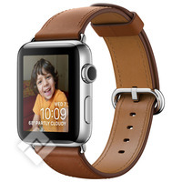 APPLE WATCH SERIES 2 2016 38MM STAINLESS STEEL CASE SADDLE BROWN CLASSIC BUCKLE