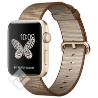 APPLE WATCH SERIES 2 2016 42MM GOLD ALUMINIUM CASE TOASTED COFFEE/CARAMEL WOVEN NYLON BAND