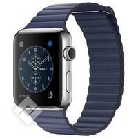 APPLE WATCH SERIES 2 2016 42MM STAINLESS STEEL CASE MIDNIGHT BLUE LEATHER LOOP LARGE
