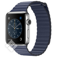 APPLE WATCH SERIES 2 2016 42MM STAINLESS STEEL CASE MIDNIGHT BLUE LEATHER LOOP MEDIUM