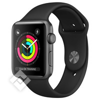 APPLE WATCH SERIES 3 2017 GPS 38MM SPACE GRAY ALUMINUM CASE BLACK SPORT BAND