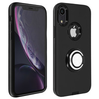 Avizar Coque iPhone XR Antichoc Bague Maintien Support Vidéo Bords Surélevés Noir