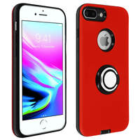 Avizar Coque Apple iPhone 7 Plus/8 Plus Antichoc Bague Maintien Support Vidéo Rouge
