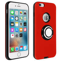 Avizar Coque iPhone 6/6S Antichoc Bague Maintien Support Vidéo Bords Surélevés Rouge