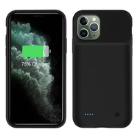 Avizar Coque iPhone 11 Pro Max Protection Rigide avec Batterie 4500mAh Soft touch Noir