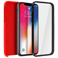 Avizar Coque iPhone X / XS Protection Silicone + Arrière Polycarbonate - Rouge