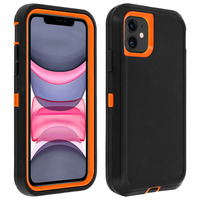 Avizar Coque iPhone 11/XR Rigide Multi-couches Bumper Antichocs - Noir/Orange