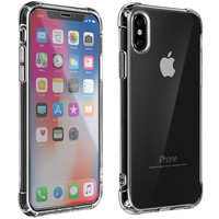 Avizar Protection iPhone X/XS Coque Souple Antichoc et Film Verre trempé 9H Transparent
