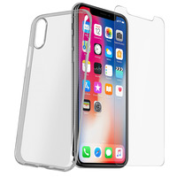 Avizar Pack Protection iPhone X / XS Coque transparente + Verre trempé
