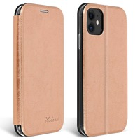 Avizar Étui Apple iPhone 11 Cuir Texturé Clapet Porte-carte Support Vidéo Rose gold
