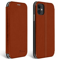 Avizar Étui Apple iPhone 11 Housse Cuir Texturé Clapet Porte-carte Support Vidéo Marron