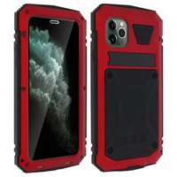 Avizar Coque iPhone 11 Pro Aluminium Silicone Support Vidéo Tank Series Rouge