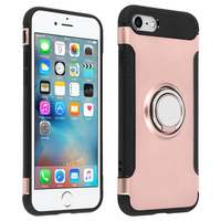 AVIZAR COQUE IPHONE 6 / 6S COQUE BAGUE ANNEAU METAL CARBONE FONCTION SUPPORT ROSE GOLD