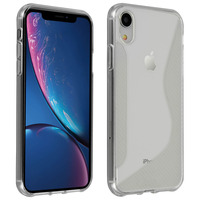 Avizar Coque Apple iPhone XR S-Line Effet Brossé + Carbone Silicone Souple Transparent
