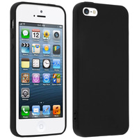 Avizar Coque Silicone TPU Gel Souple Apple iPhone SE / 5S / 5 - Noir Mat