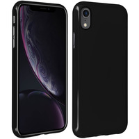 Avizar Coque Apple iPhone XR Silicone Gel Souple Contour brillant - noire mate
