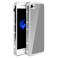 Avizar Coque iPhone SE 2020/7/8 Coque Protection Pailletée Contour Strass - Argent