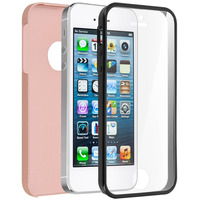 Avizar Coque iPhone 5 / 5S / SE Protection Silicone + Arrière Polycarbonate - champagne