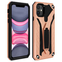 Avizar Coque iPhone 11 Protection Bi-matière Antichoc Fonction Support - Rose champagne