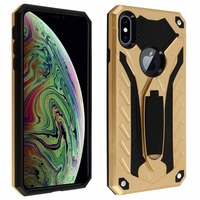 Avizar Coque iPhone XS Max Protection Bi-matière Antichoc Fonction Support Or