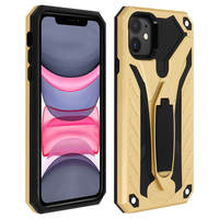 Avizar Coque iPhone 11 Protection Bi-matière Antichoc Fonction Support Or