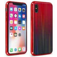 AVIZAR COQUE IPHONE X ET IPHONE XS DESIGN HOLOGRAPHIQUE RIGIDE COLLECTION AURORA ROUGE