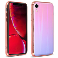 AVIZAR COQUE IPHONE XR DESIGN HOLOGRAPHIQUE RIGIDE COLLECTION AURORA ROSE CLAIR
