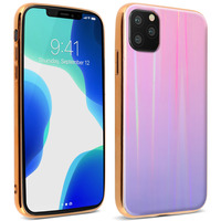 AVIZAR COQUE IPHONE 11 PRO HOLOGRAPHIQUE BRILLANT RIGIDE COLLECTION AURORA ROSE CLAIR