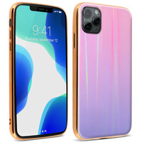 AVIZAR COQUE IPHONE 11 PRO MAX HOLOGRAPHIQUE BRILLANT COLLECTION AURORA ROSE CLAIR