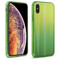 AVIZAR COQUE IPHONE XS MAX DESIGN HOLOGRAPHIQUE BRILLANT RIGIDE COLLECTION AURORA VERT