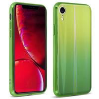 AVIZAR COQUE IPHONE XR DESIGN HOLOGRAPHIQUE BRILLANT RIGIDE COLLECTION AURORA VERT