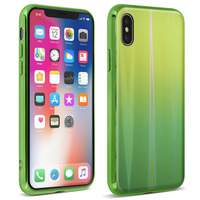 AVIZAR COQUE IPHONE X ET IPHONE XS DESIGN HOLOGRAPHIQUE RIGIDE COLLECTION AURORA VERT