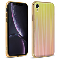 AVIZAR COQUE IPHONE XR DESIGN HOLOGRAPHIQUE BRILLANT RIGIDE COLLECTION AURORA OR