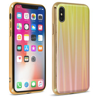 AVIZAR COQUE IPHONE X ET IPHONE XS DESIGN HOLOGRAPHIQUE RIGIDE COLLECTION AURORA OR