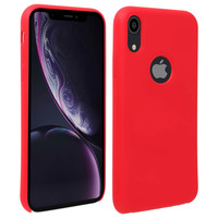 Avizar Coque iPhone XR Silicone Semi-rigide Mat Finition Soft Touch rouge