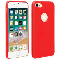 Avizar Coque iPhone SE 2020/7/8 Silicone Semi-rigide Mat Finition Soft Touch Rouge