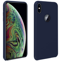 Avizar Coque iPhone XS Max Silicone Semi-rigide Mat Finition Soft Touch bleu nuit