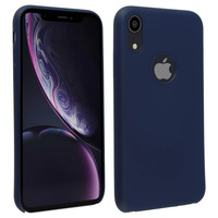 Avizar Coque iPhone XR Silicone Semi-rigide Mat Finition Soft Touch bleu nuit