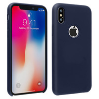 Avizar Coque iPhone X / XS Silicone Semi-rigide Mat Finition Soft Touch bleu nuit