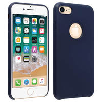 Avizar Coque iPhone 7/8 Silicone Semi-rigide Mat Finition Soft Touch bleu nuit