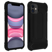 Avizar Coque Apple iPhone 11 Design Relief Bi-matière Robuste Antichute 1,8m noir