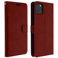 Avizar Housse Apple iPhone 11 Pro Max Étui Porte carte Support Vidéo Vintage Marron