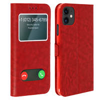 Avizar Housse iPhone 11 Protection Double Fenêtre Fonction Support - rouge