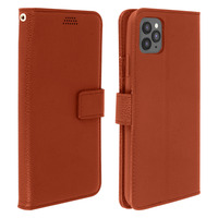Avizar Housse iPhone 11 Pro Étui Folio Porte carte Support Vidéo Marron