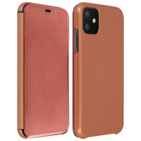 Avizar Étui iPhone 11 Chromé Strié Clapet Translucide Rigide Fin Léger - Rose Or