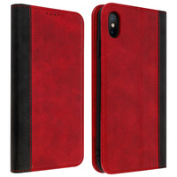 Avizar Housse iPhone XS Max Etui Folio Rangement carte Fonction support Rouge