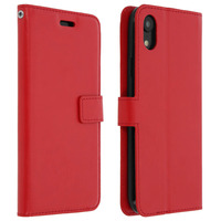 Avizar Housse Apple iPhone XR Étui Folio Portefeuille Fonction Support - rouge